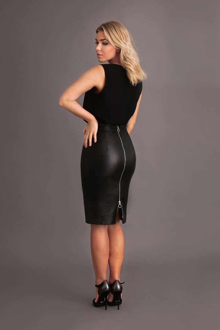 Carlo Felice Katja black leather pencil skirt