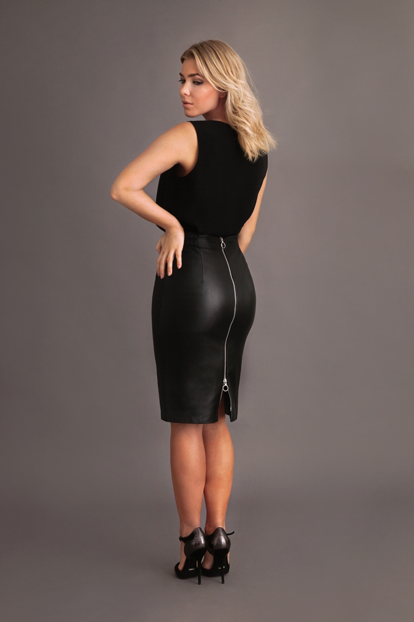 Carlo Felice Katja black leather pencil skirt