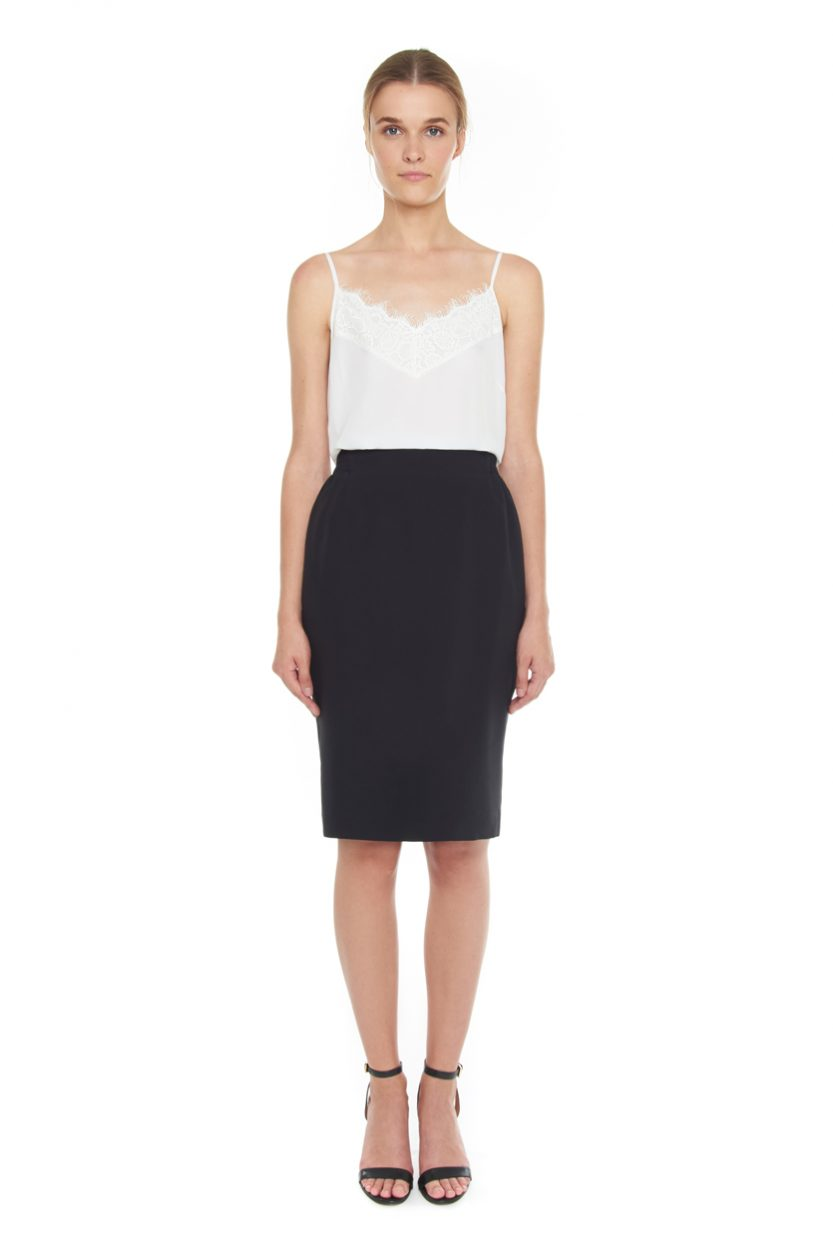Carlo Felice silk wool ultimate pencil skirt black