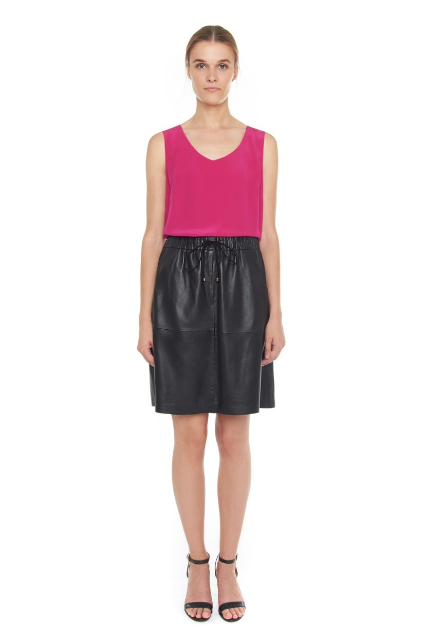 Carlo Felice A-leather black skirt