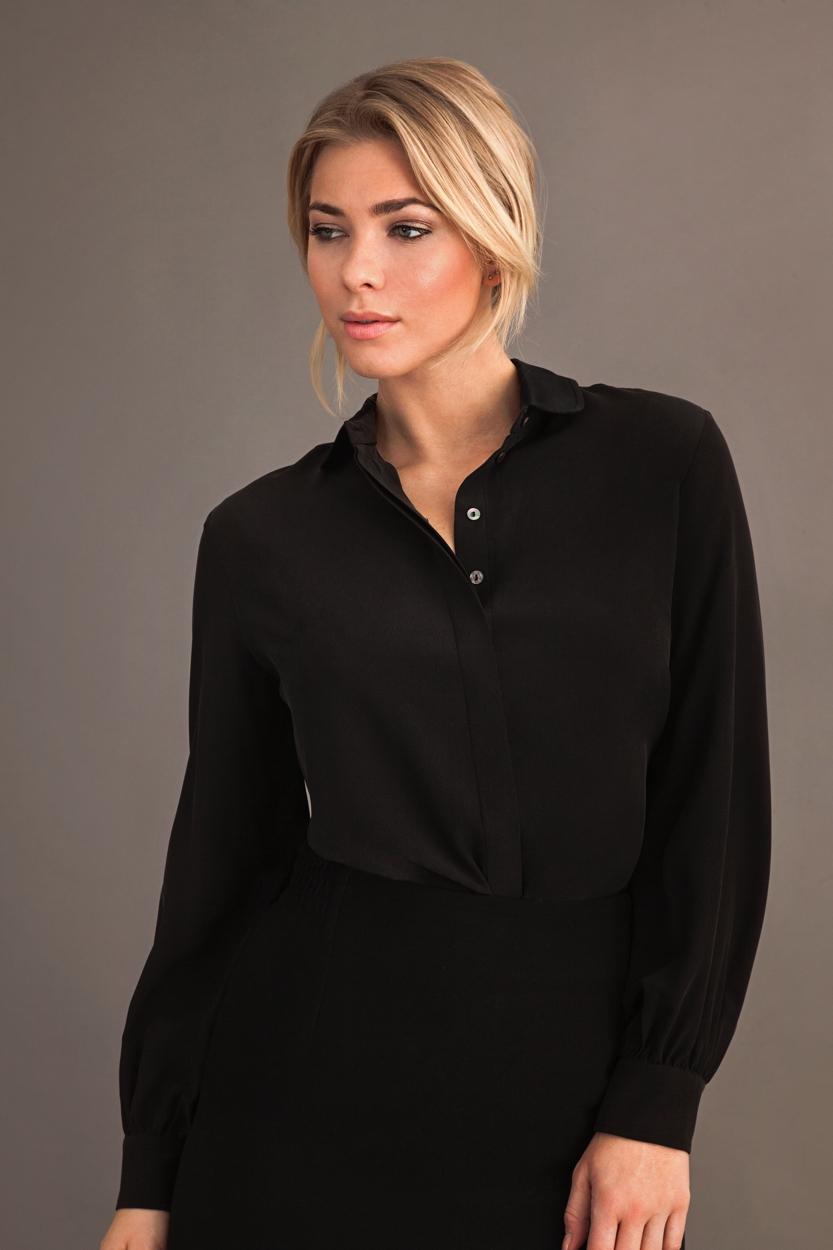 Carlo Felice manhattan silk blouse satin collar