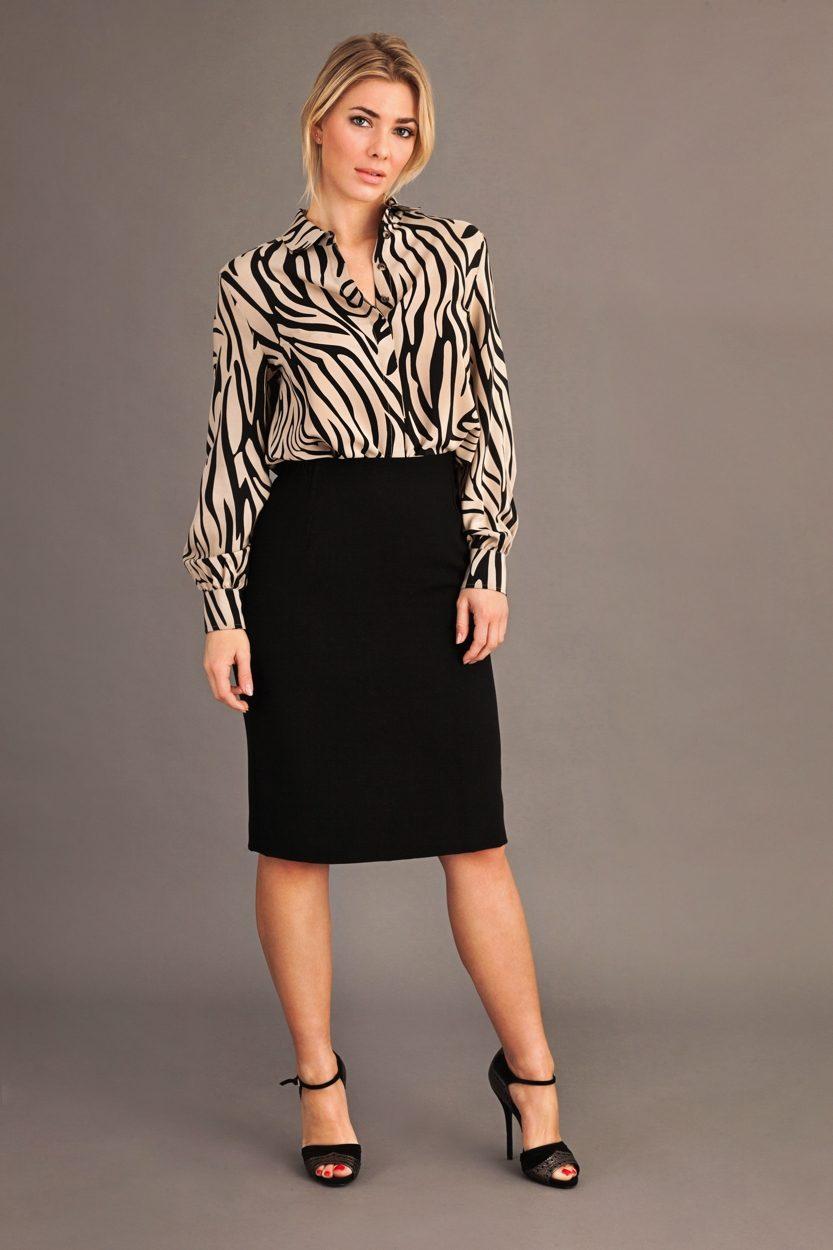 Carlo Felice silk wool ultimate pencil skirt black