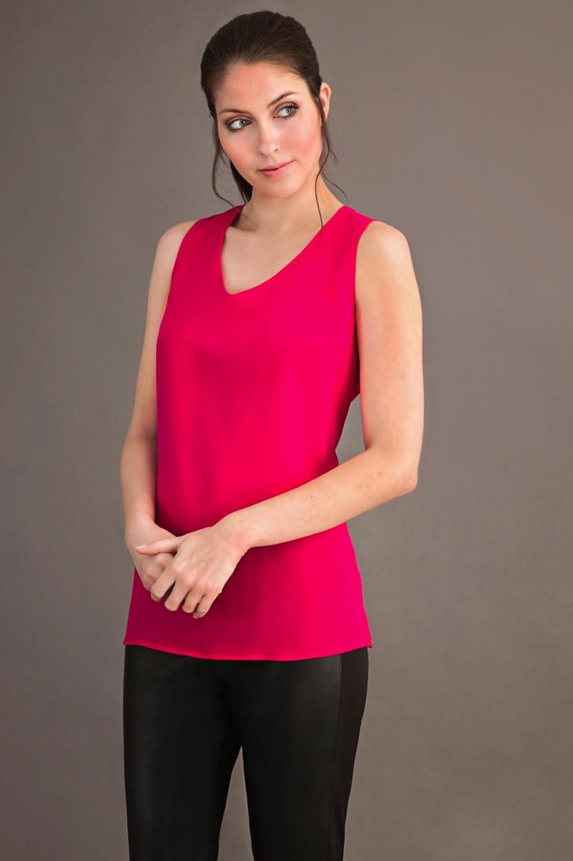 Carlo Felice fuxia pink silk top
