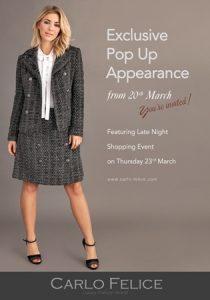 Carlo Felice pop up store banner blog