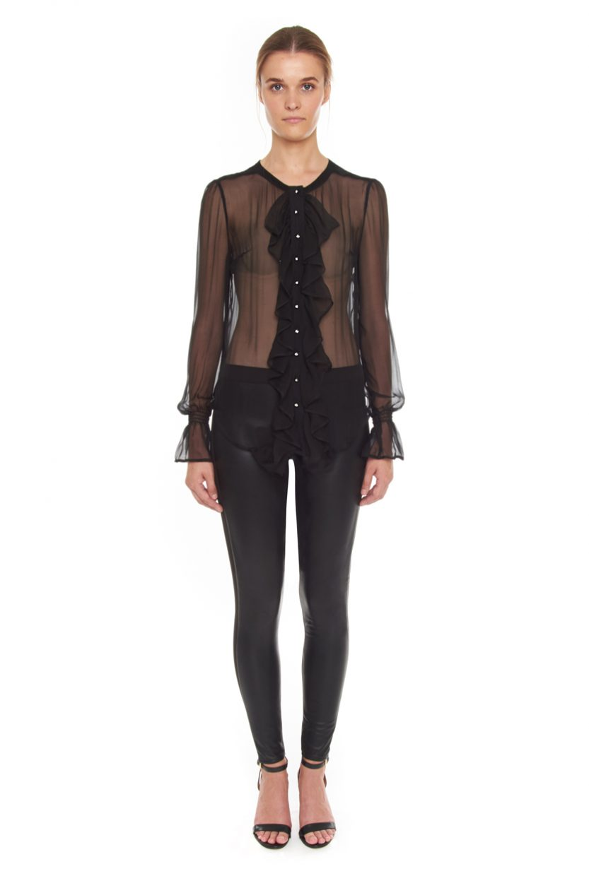 Carlo Felice ghost black silk blouse