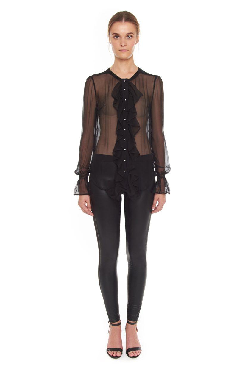 Carlo Felice ghost black silk blouse